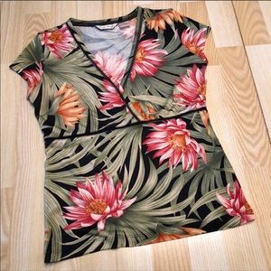 EUC 100% Silk Faux Wrap Tropical Top.